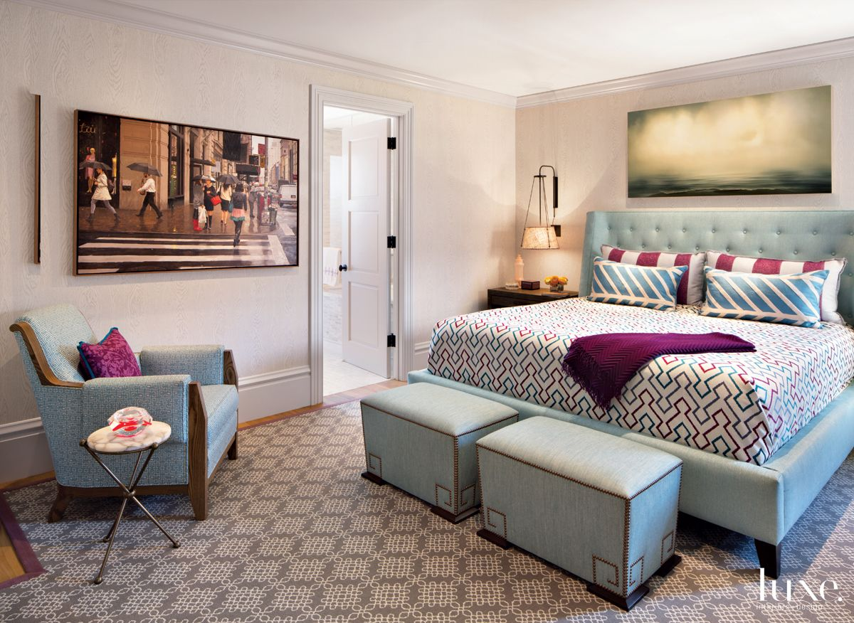 Eclectic Neutral Bedroom with Blue Upholstered Bed