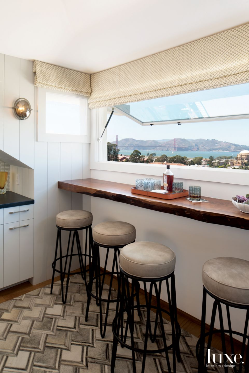 Eclectic White Bar with Bay Views