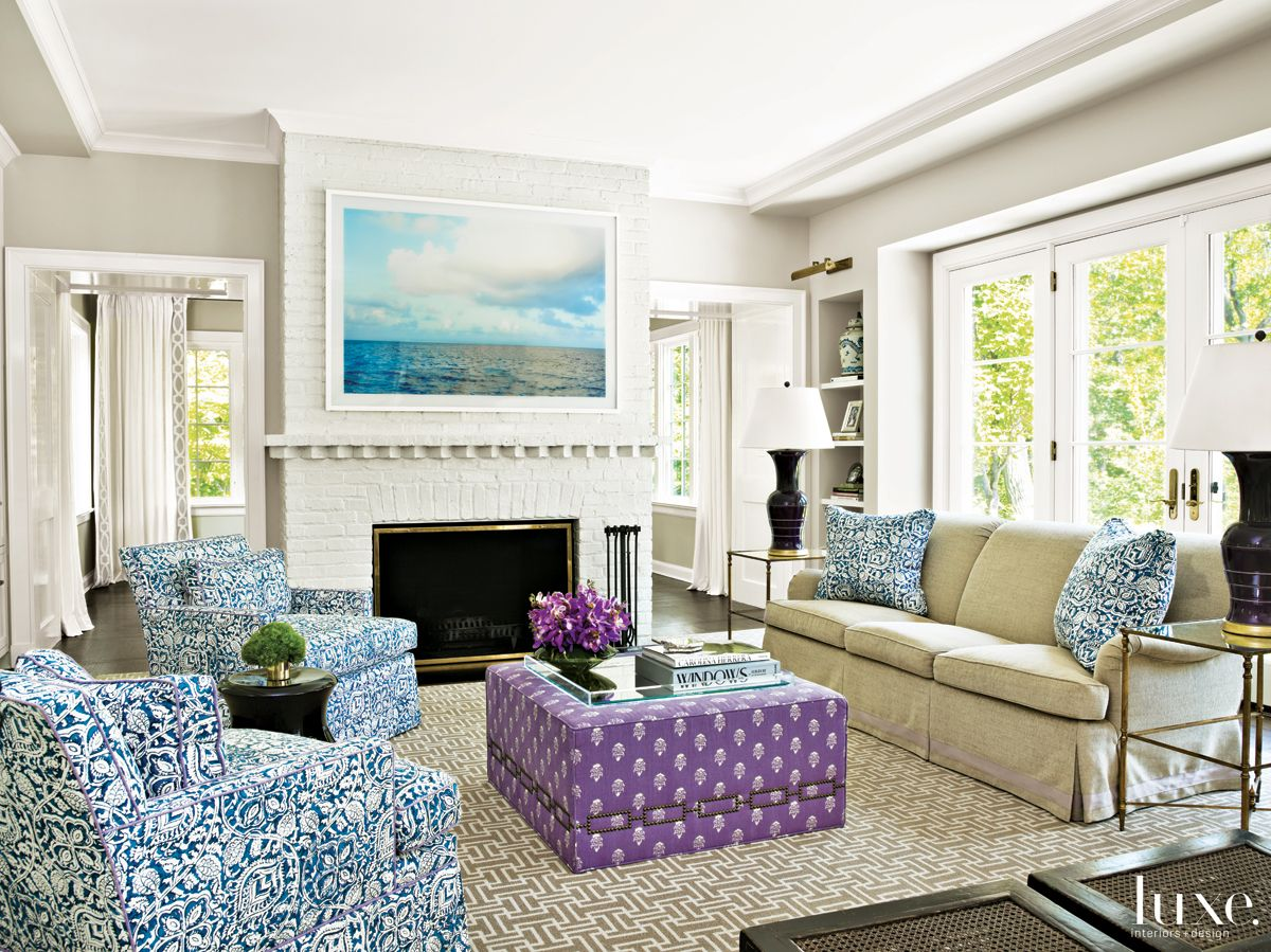 Modern Neutral Family Room with Purple Ottoman