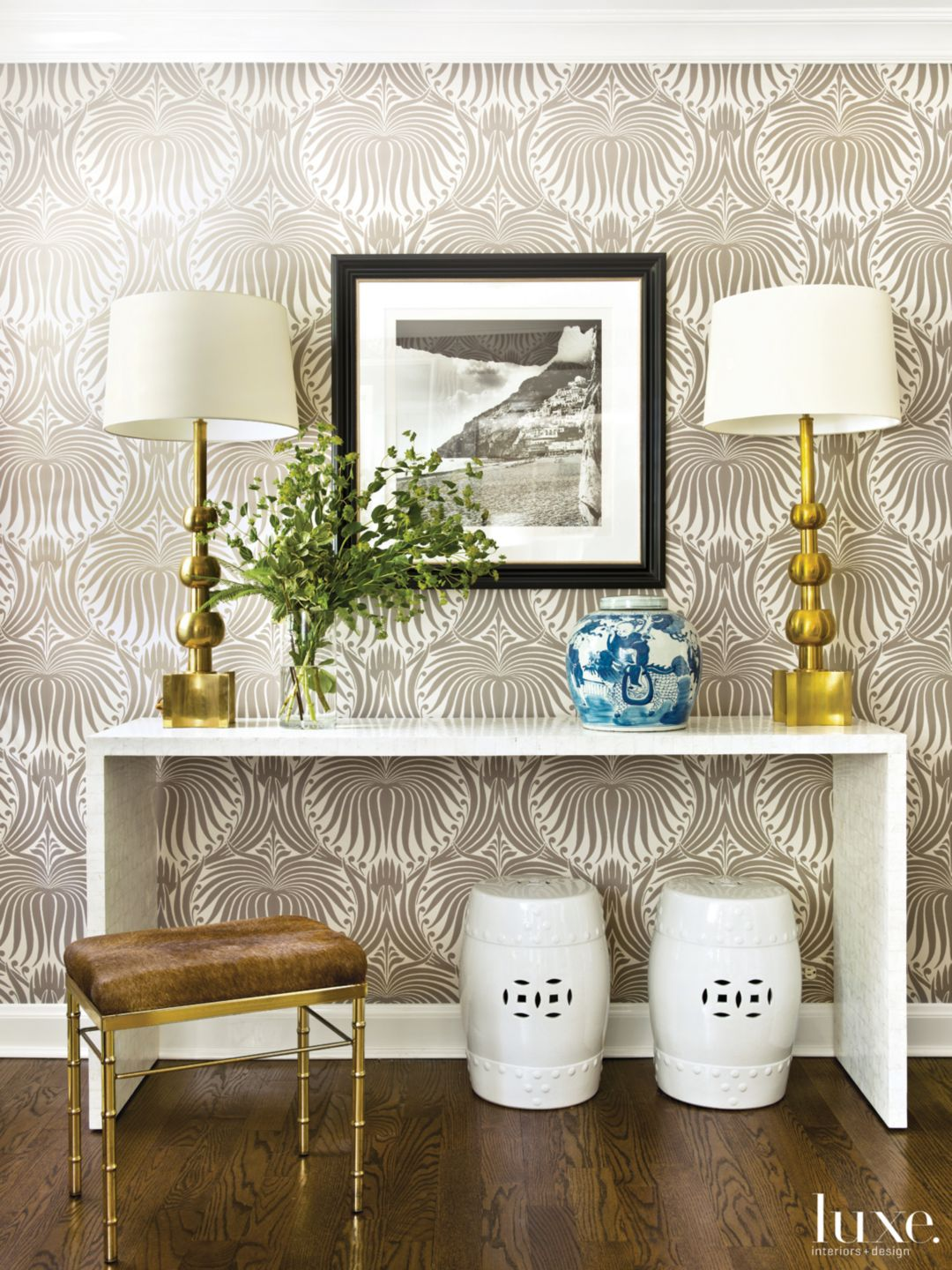 Modern Neutral Foyer with Printed Wallpaper