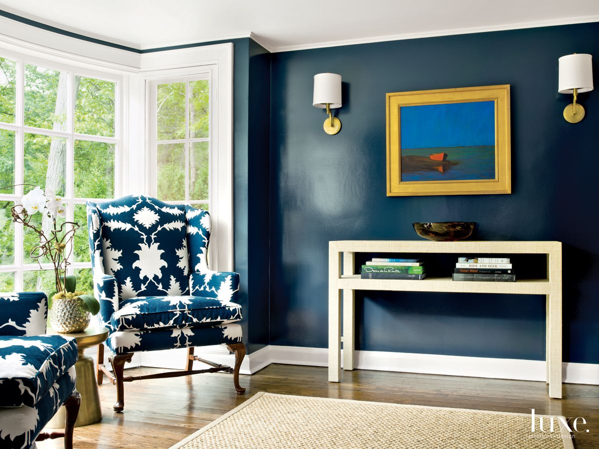Modern Blue Sitting Room with Woven Console
