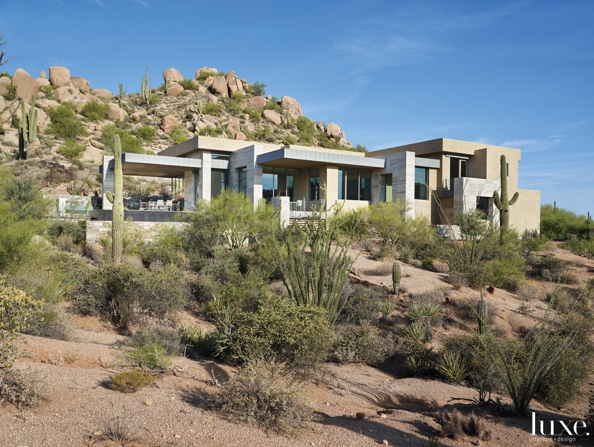 Modern Neutral Exterior with Rugged Desert Landscape