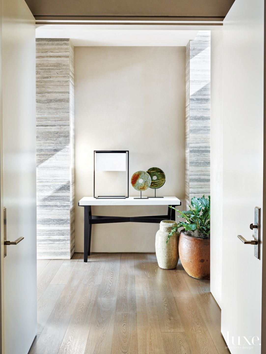 Contemporary Neutral Hall Vestibule with Walnut Console Table