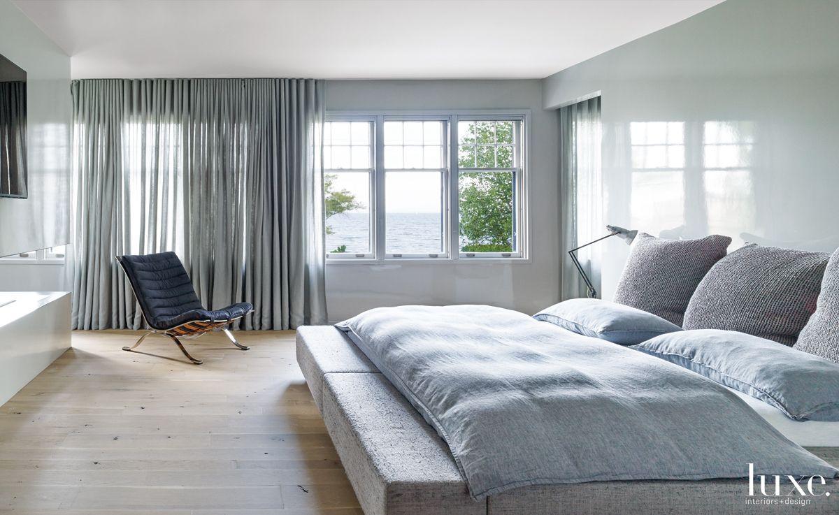 Modern Gray Bedroom with Handwoven Custom Bed