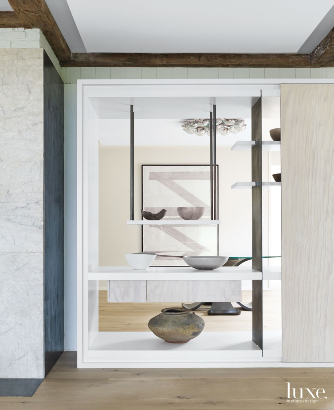 Modern Neutral Shelving with Ceramic Pieces
