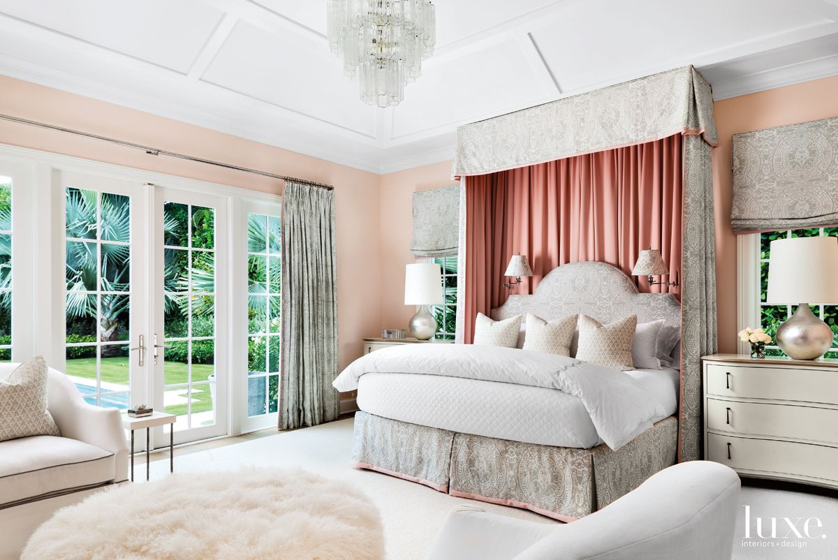 Contemporary Pink Bedroom with Bed Canopy