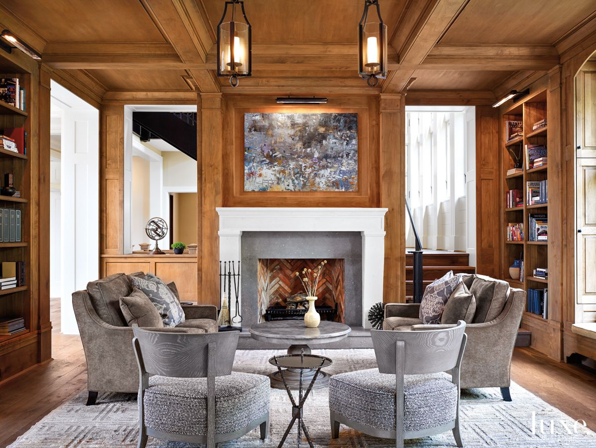 Modern Neutral Library with Custom Millwork