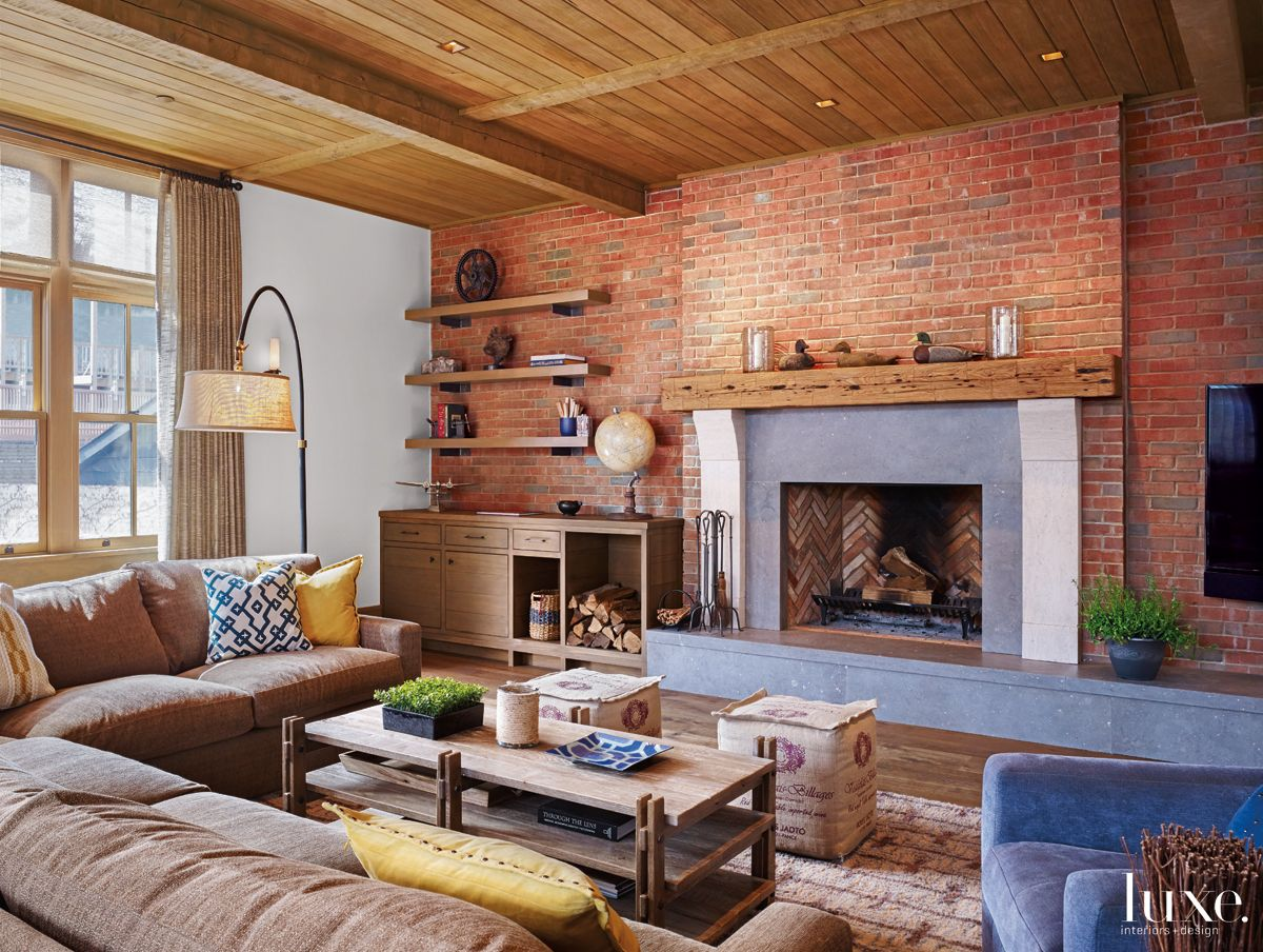 Modern Neutral Family Room with Exposed Brick Wall