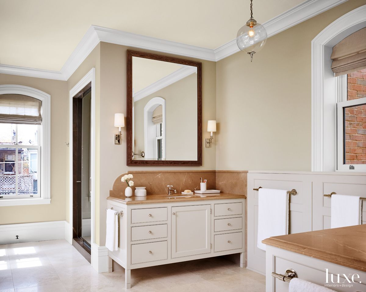 Modern Neutral Bathroom with Painted Cabinetry
