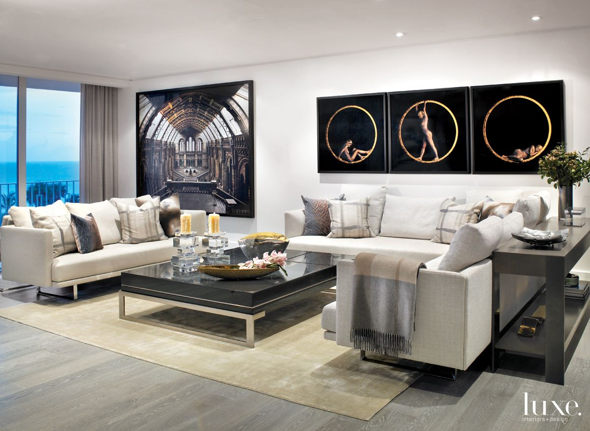 Modern White Living Room with Black Coffee Table