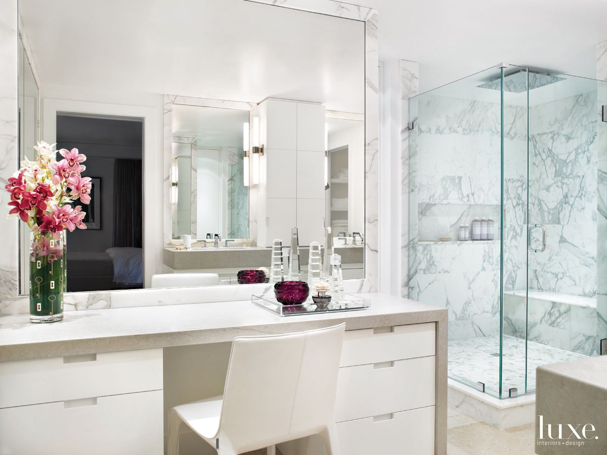 Modern White Bathroom with Makeup Vanity