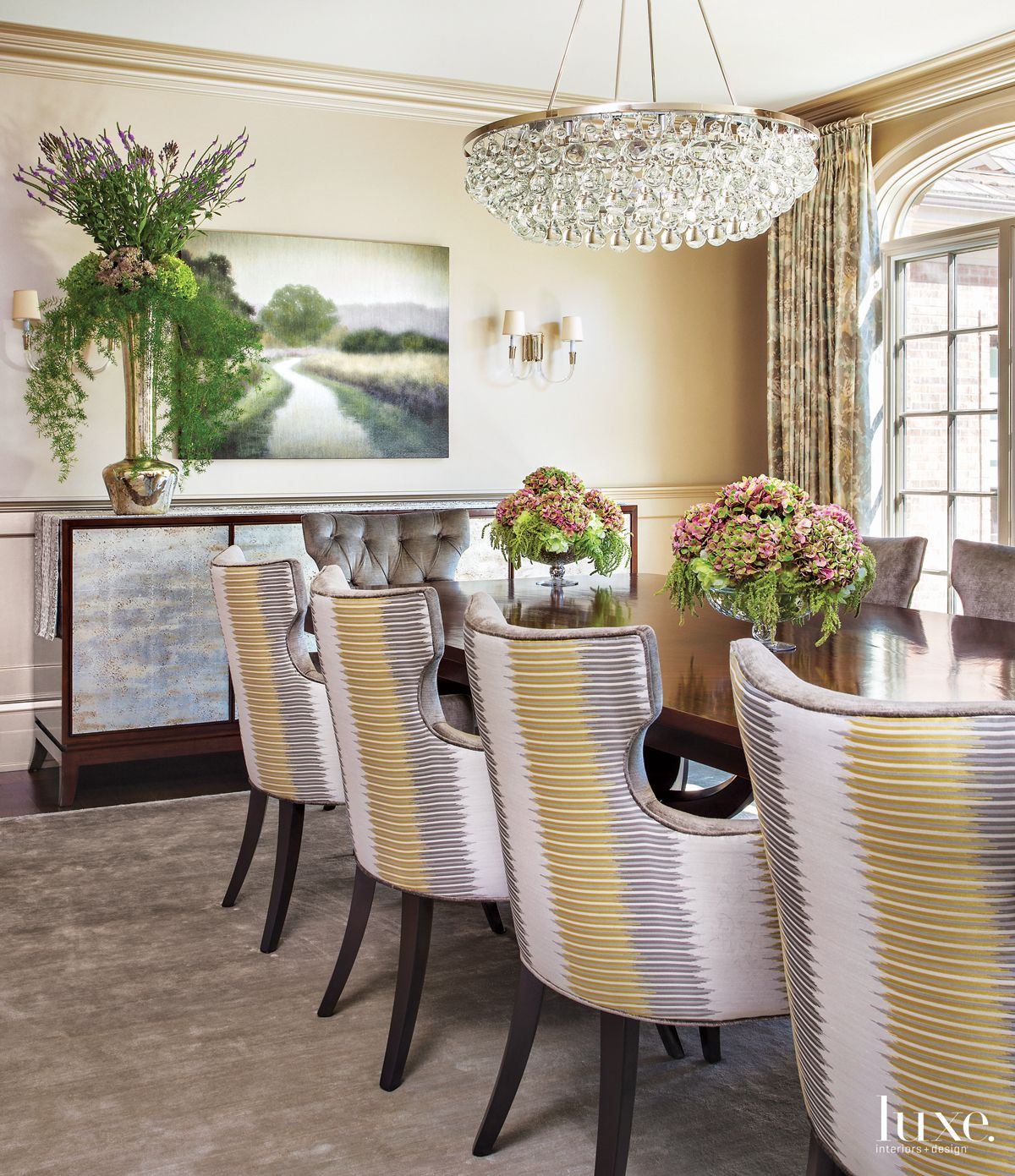 Traditional Neutral Dining Room with Metallic Walls