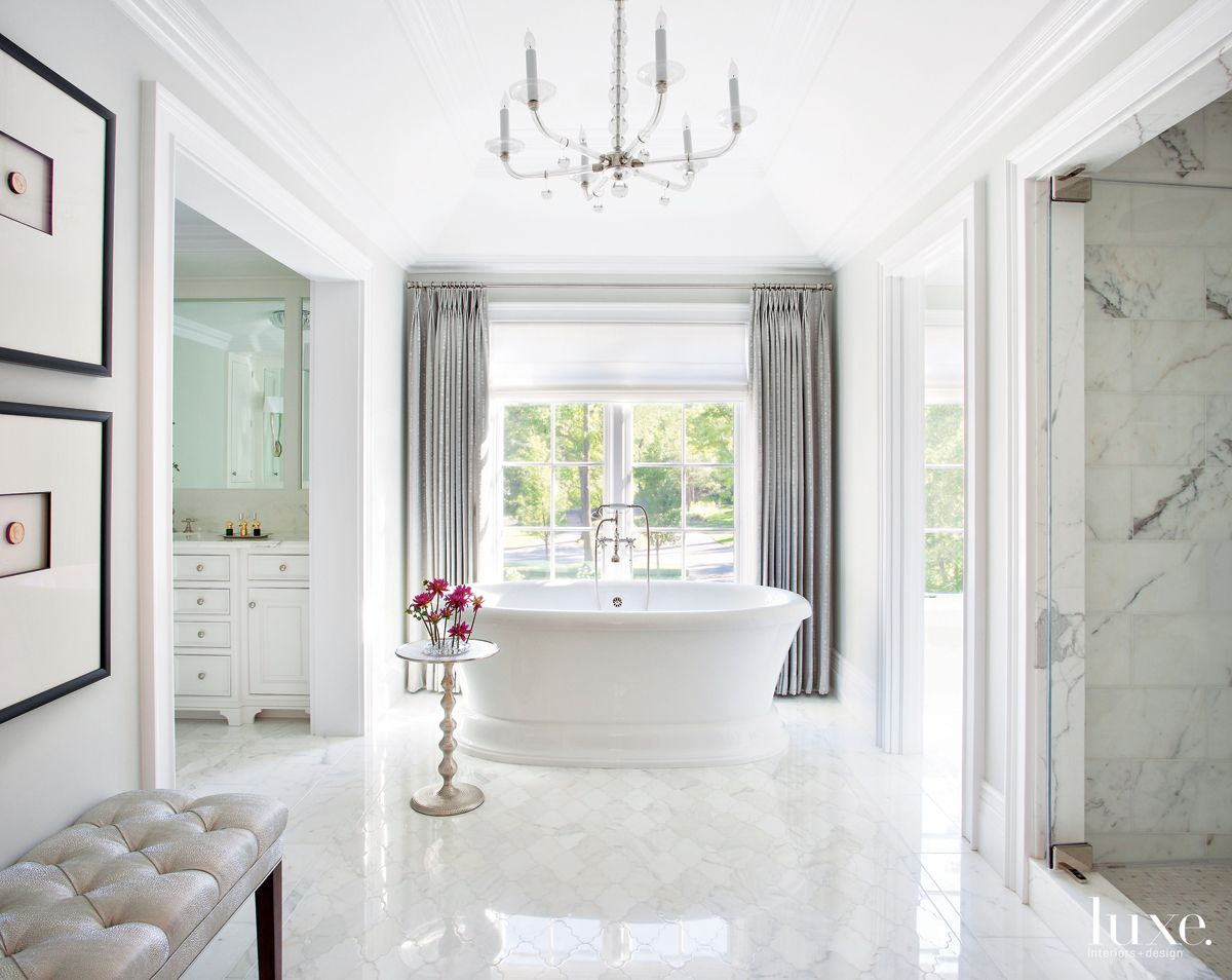 Traditional White Bathroom with Metallic Tufted Bench