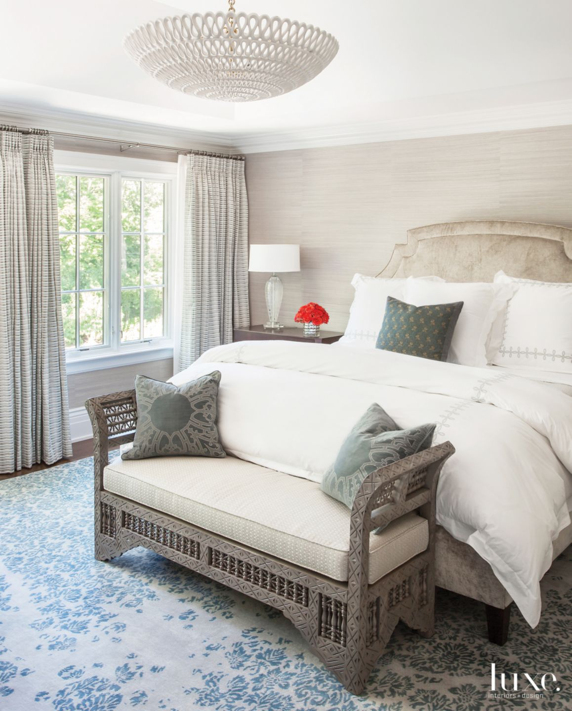 Traditional Neutral Bedroom with Handmade Rug
