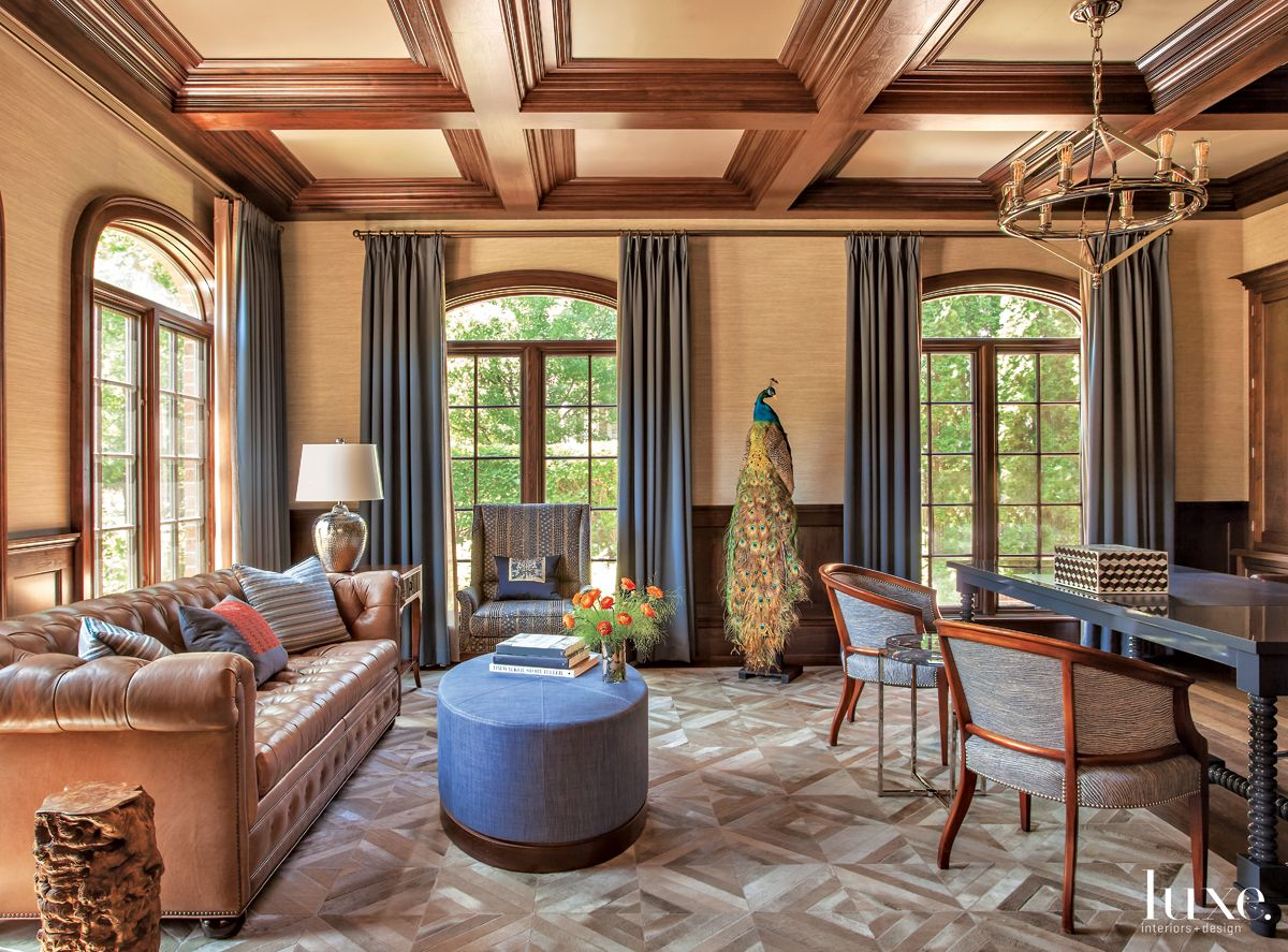 Traditional Neutral Study with Patchwork Rug