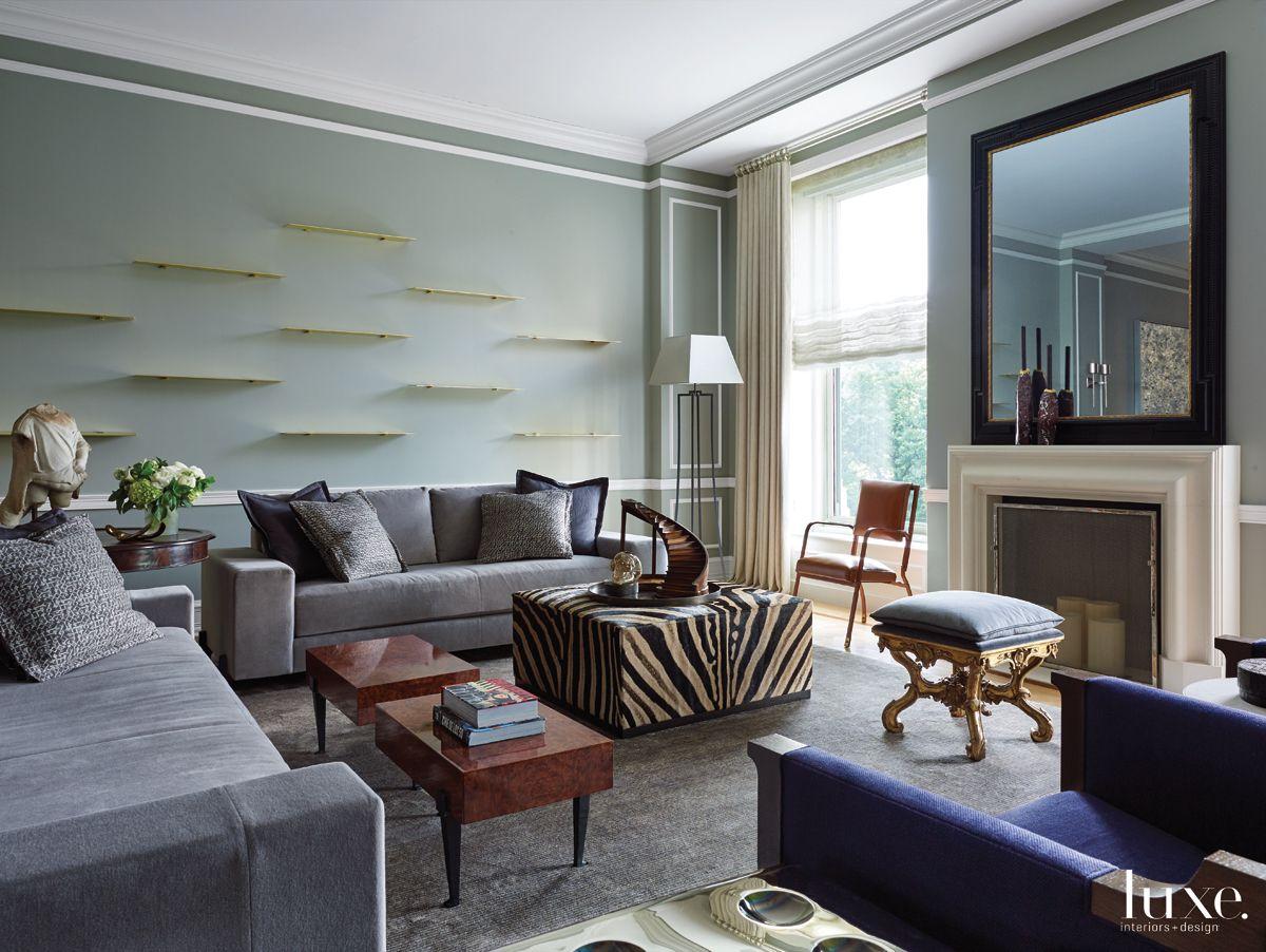 Contemporary Gray Living Room with Zebra Skin Ottoman