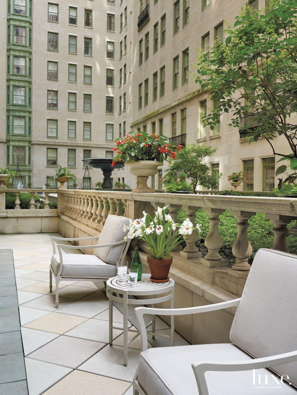 Contemporary Neutral Terrace with Interior Gardens Views