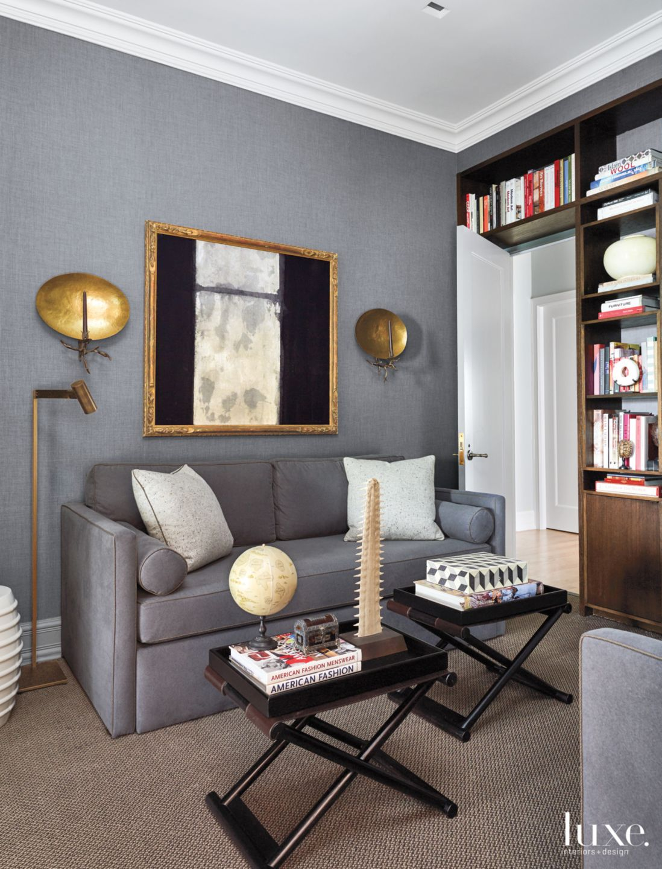 Contemporary Gray Study with Bronze Sconces