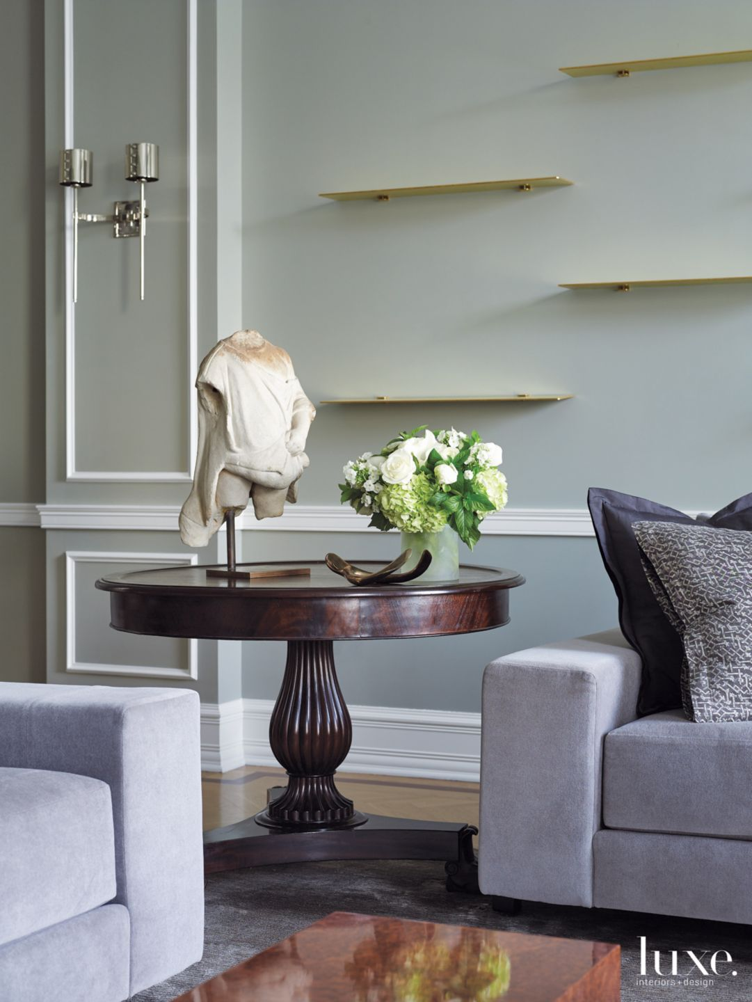 Contemporary Gray Living Room Vignette with Round Table