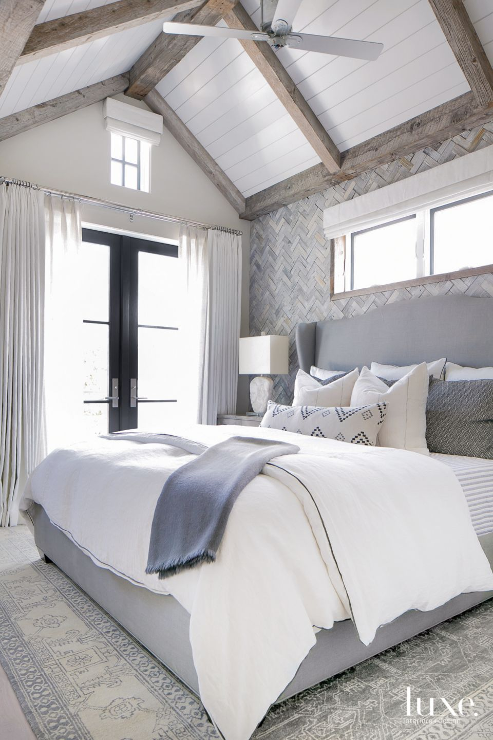 Contemporary Neutral Bedroom with Reclaimed Wood Tiles