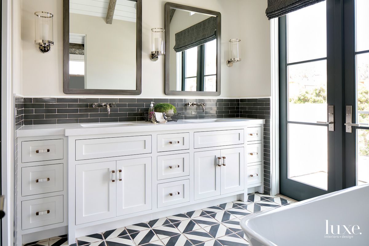 Contemporary White Bathroom with Black Tile Backsplash