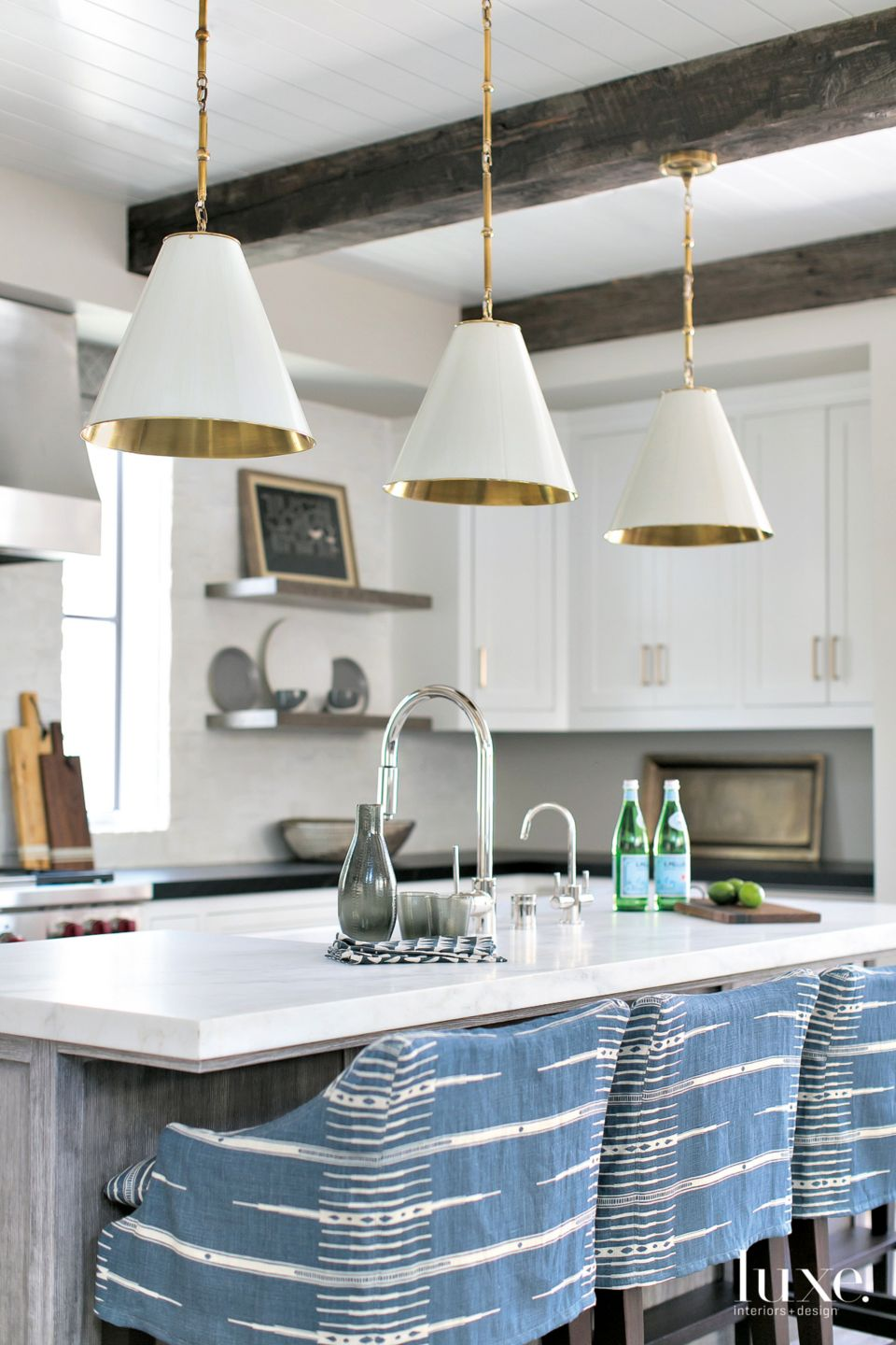 Contemporary White Kitchen with Blue Barstools