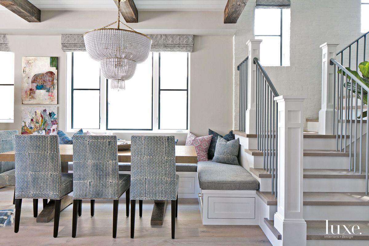 Contemporary Neutral Dining Room with Hand-Printed Dining Chairs