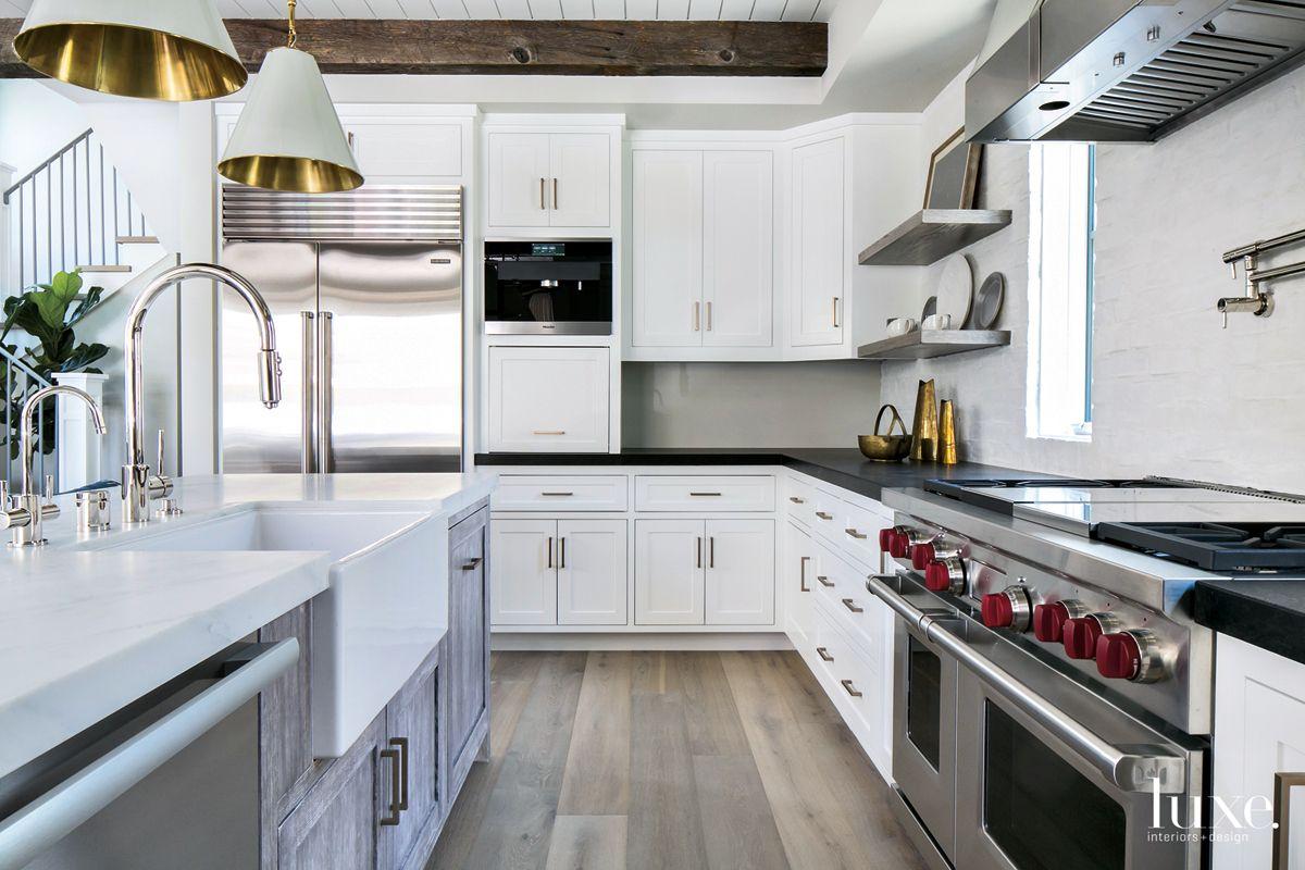 Contemporary White Kitchen Island with Farmhouse Sink