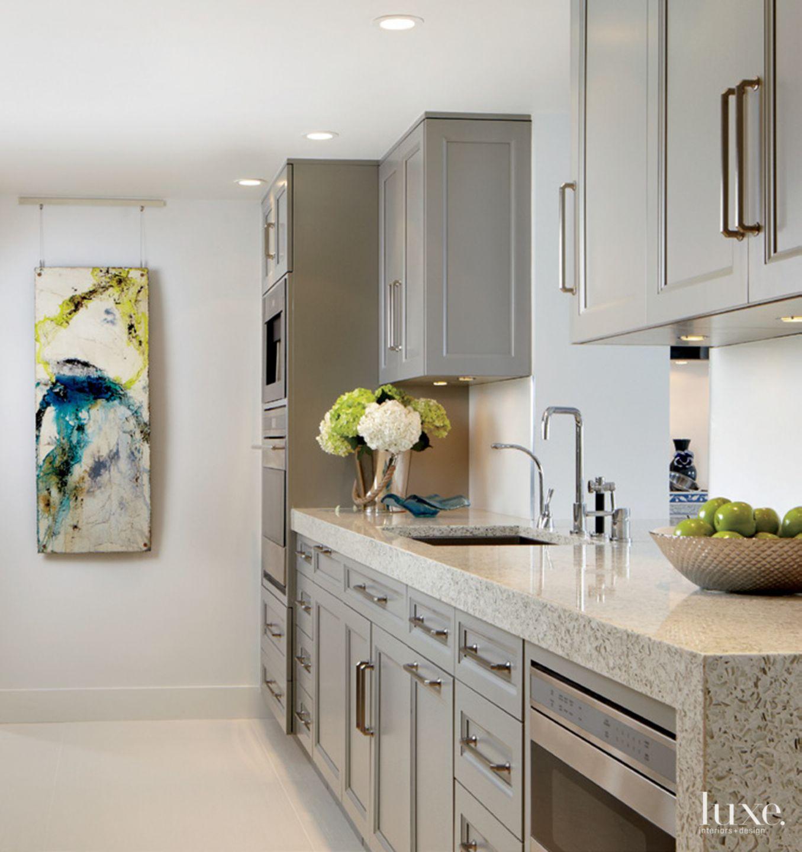 Contemporary White Kitchen with Vetrazzo Countertop