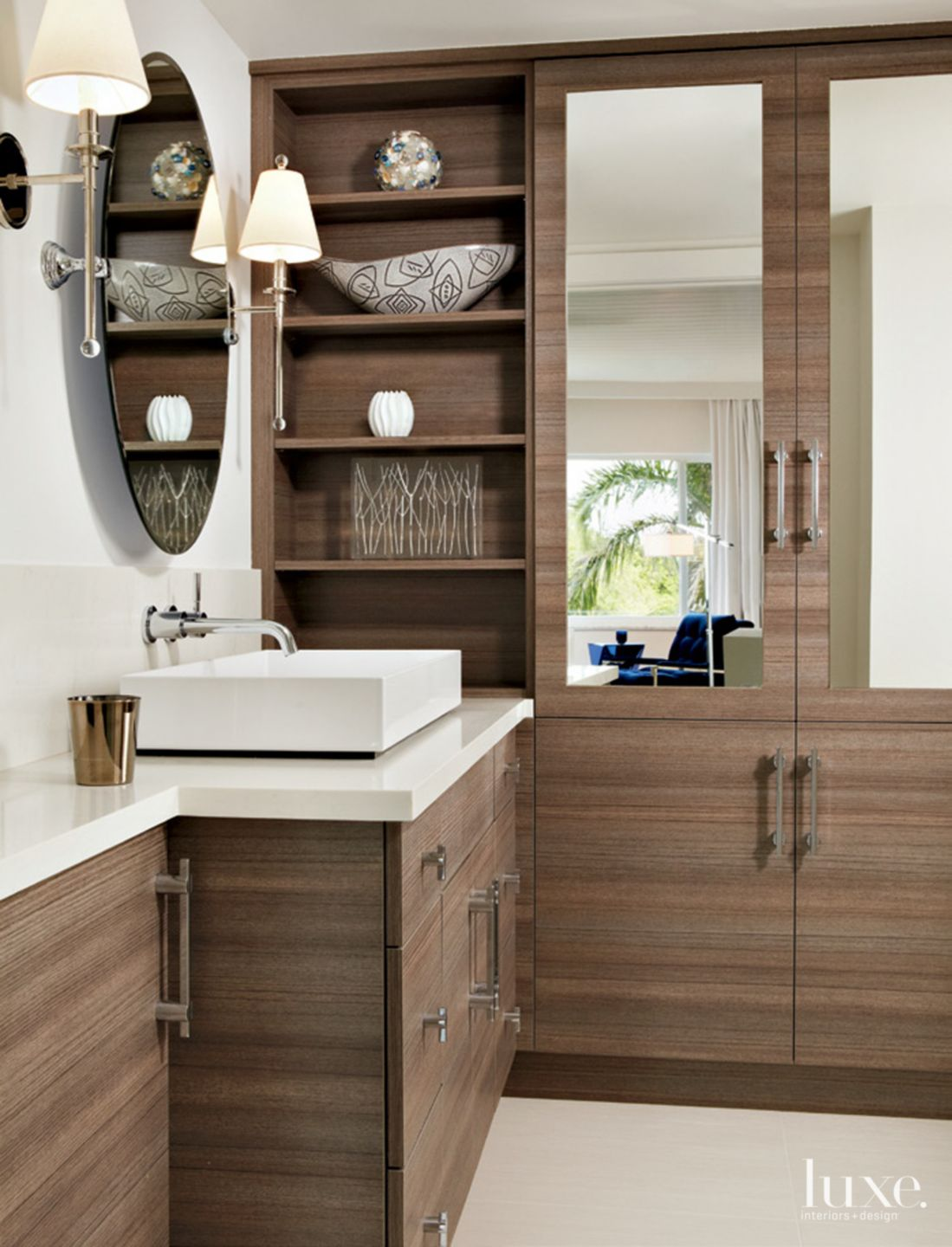 Contemporary White Bathroom with Custom Cabinetry