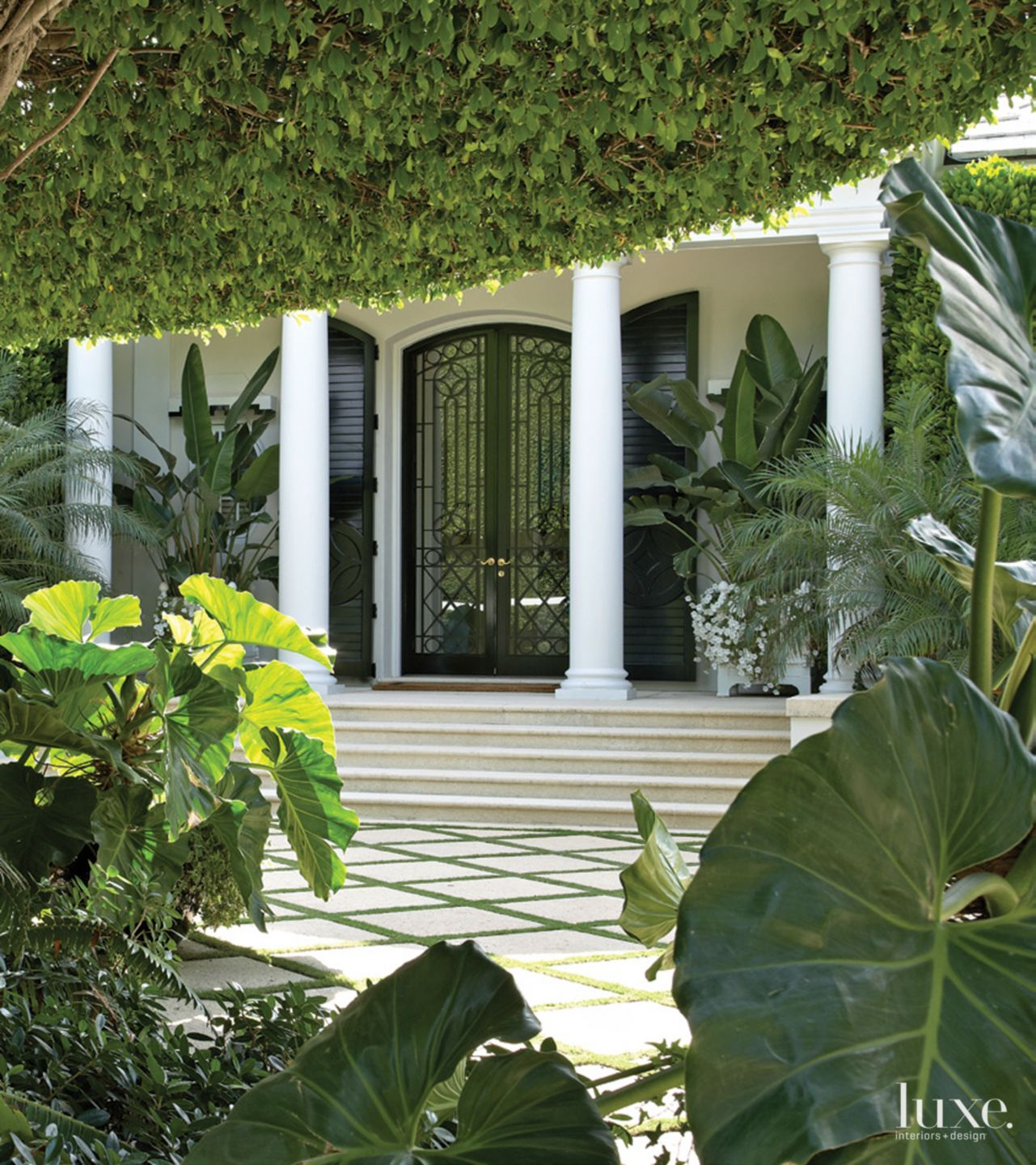 Traditional White Exterior Detail with White Columns