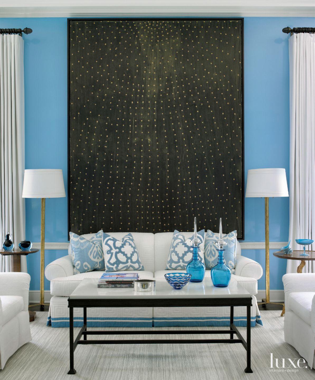 Transitional Blue Living Room Detail