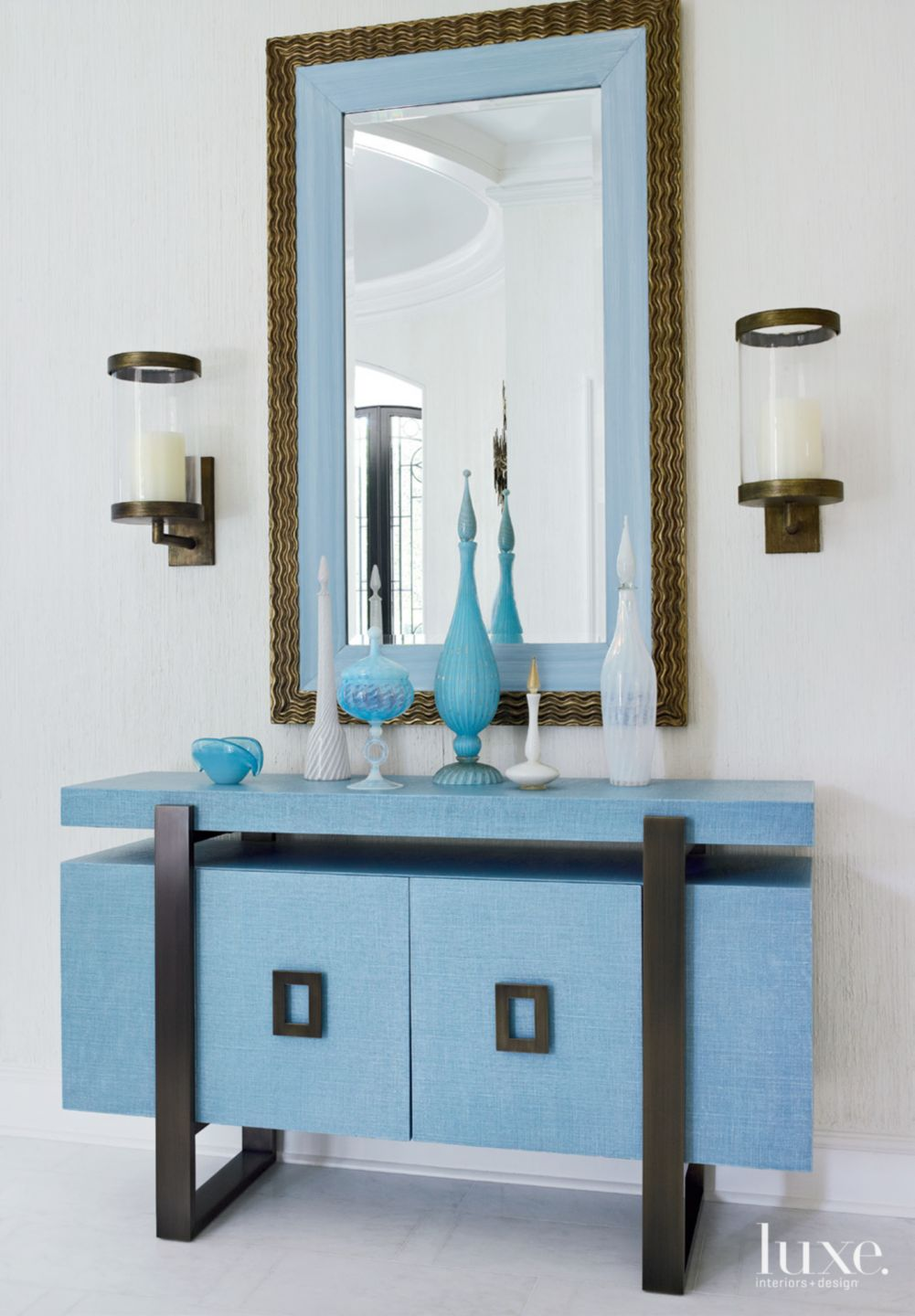 Transitional White Hall Detail with Aqua Accents