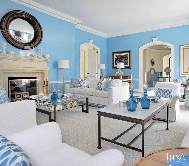 Contemporary Aqua Living Room with Stone Fireplace