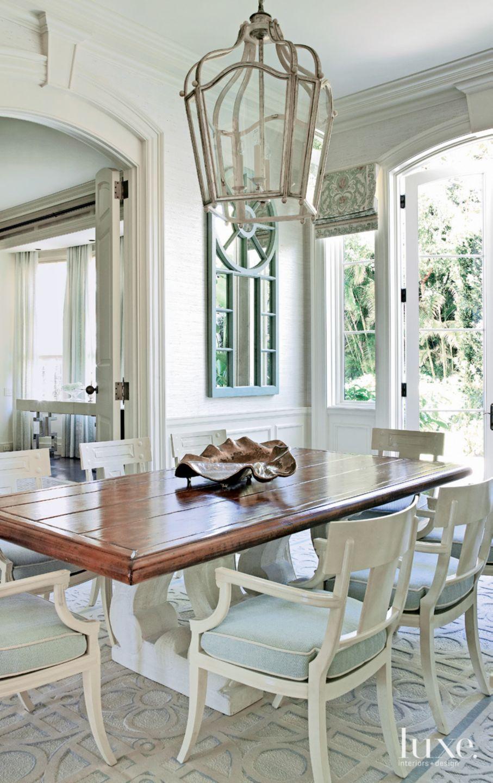 Contemporary White Breakfast Area with Lantern Pendant
