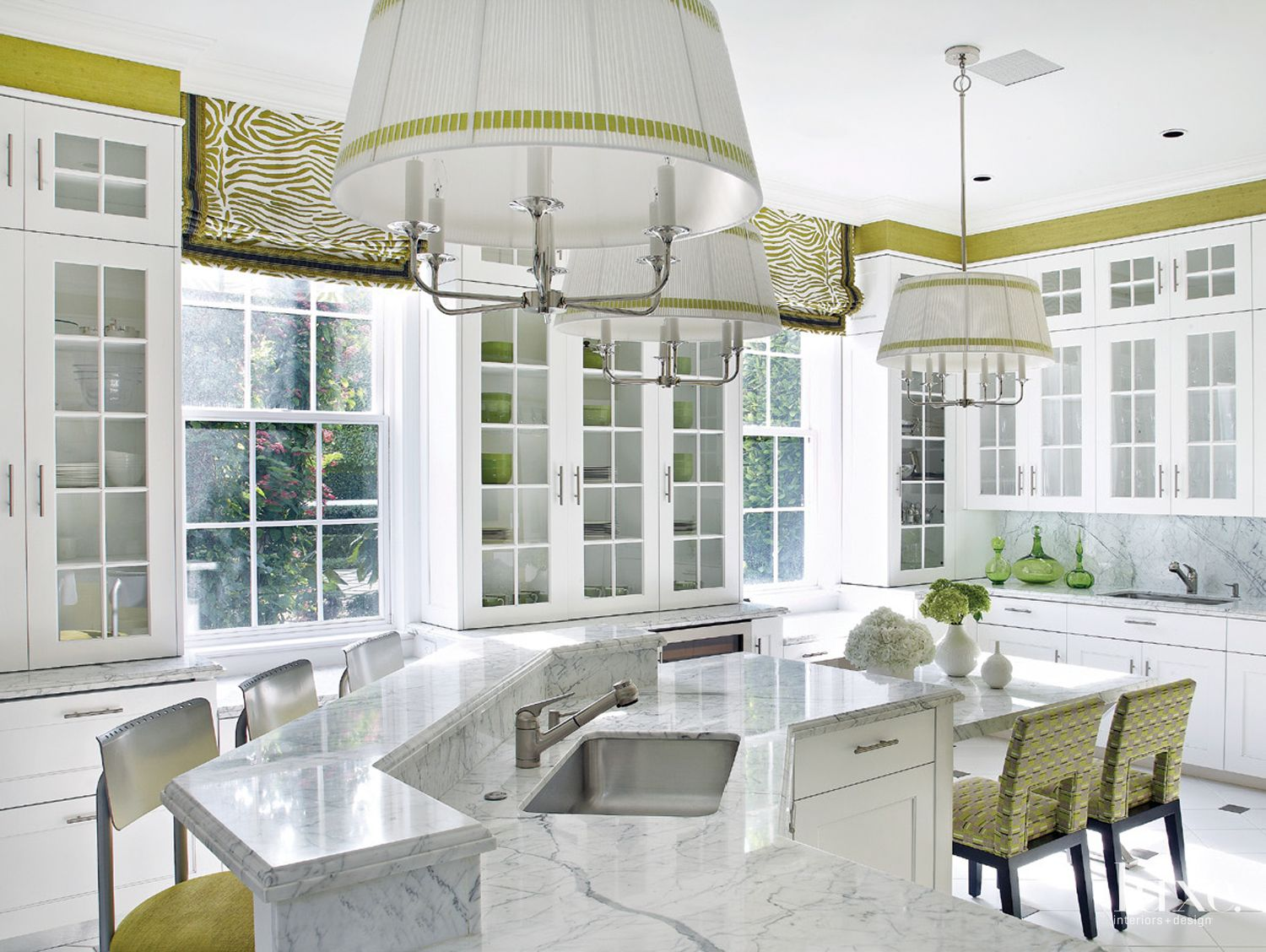 Contemporary White Kitchen with Green Accents