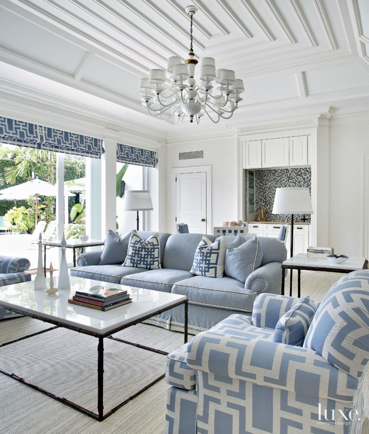 Contemporary White Loggia with Geometric Detail