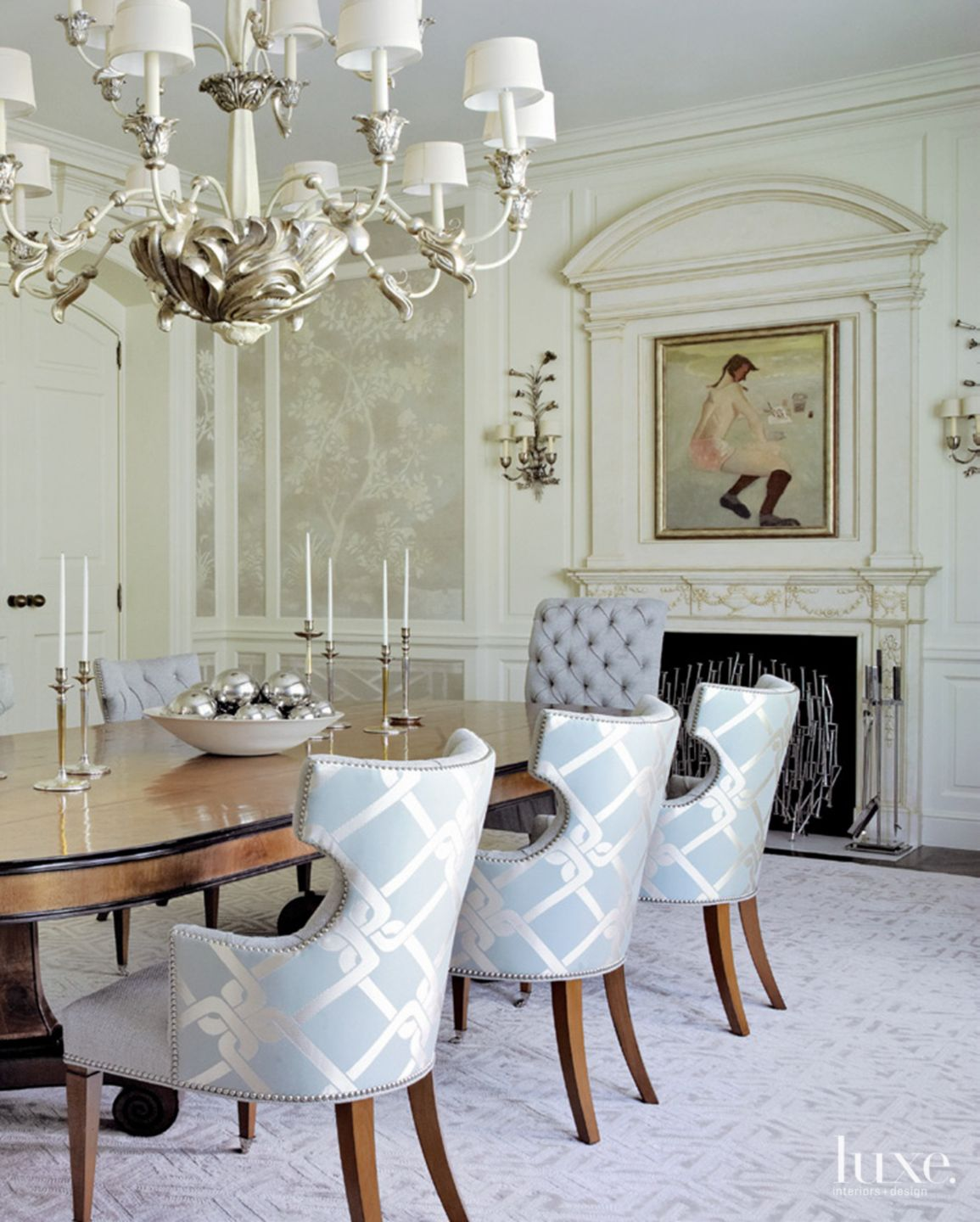 Eclectic Cream Dining Room with Lamp Shade Chandelier