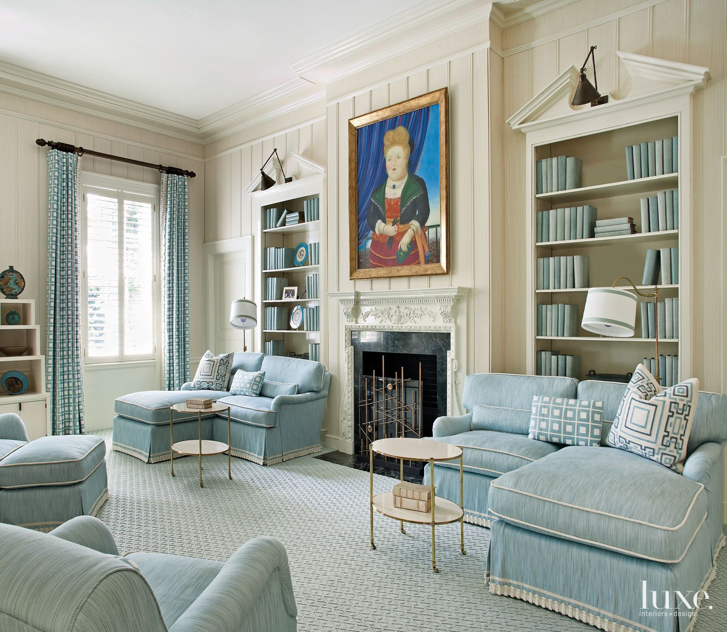 Traditional Cream Library with Fireplace