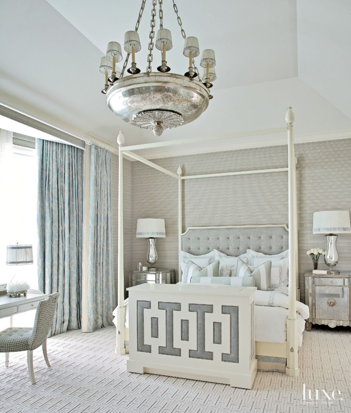 Eclectic Gray Bedroom with Ornate Chandelier