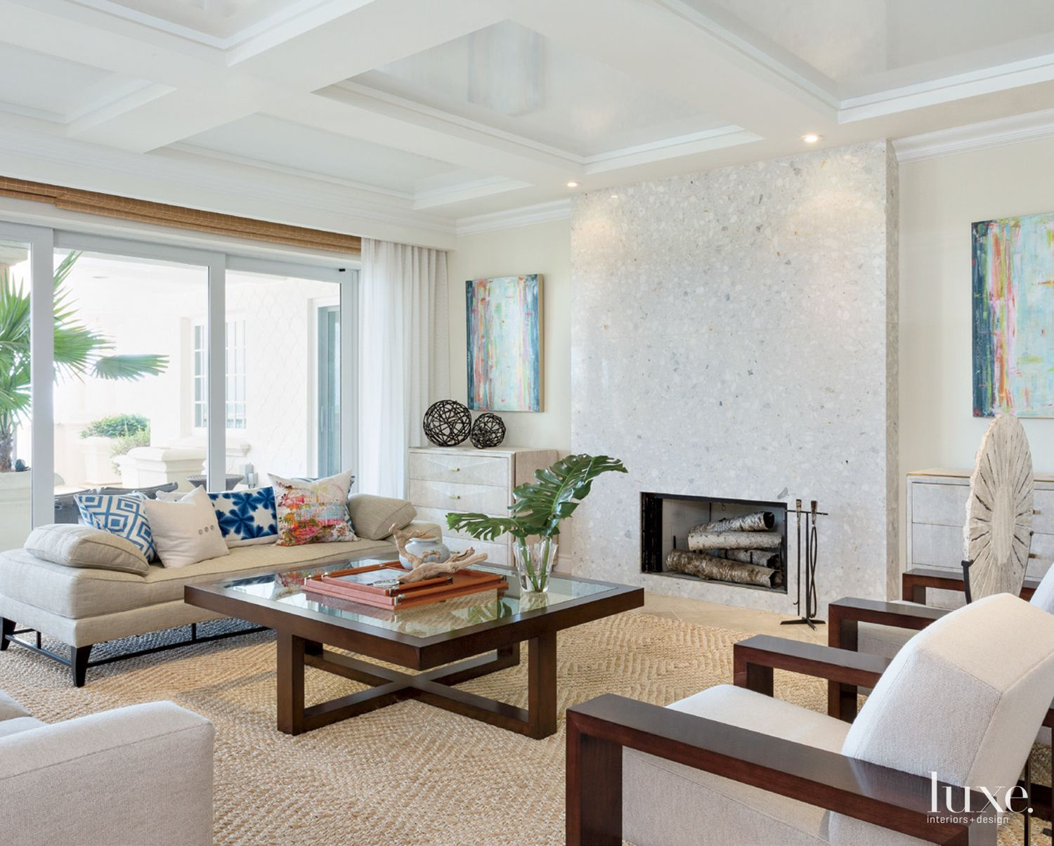 Transitional White Living Room with Coffered Ceiling