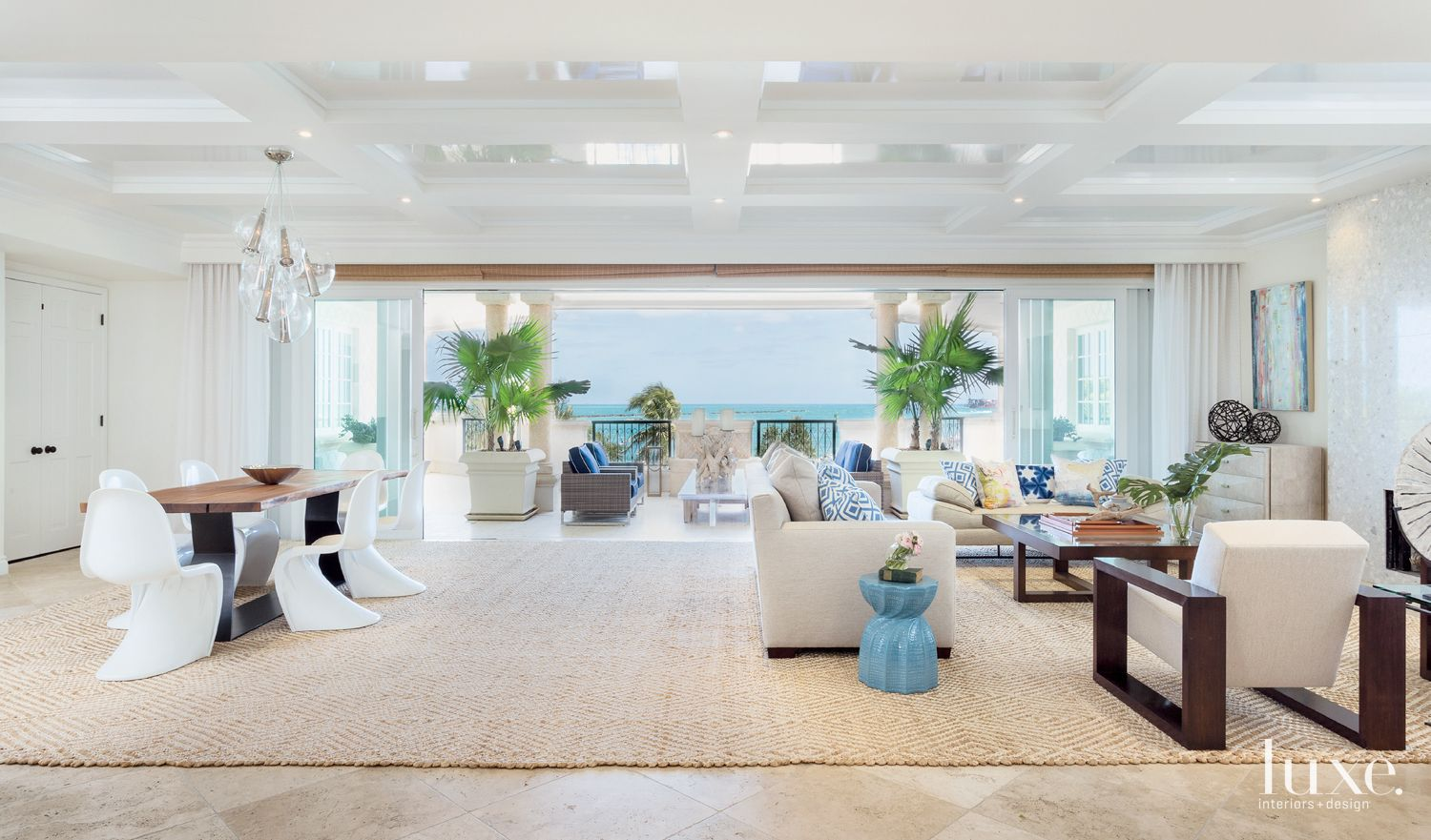 Transitional White Great Room with Custom Sisal Rug
