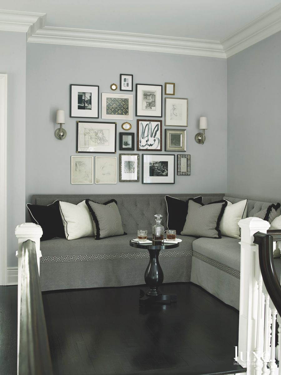 Art Gallery Wall Corner with Mini Bar Table and Sofa