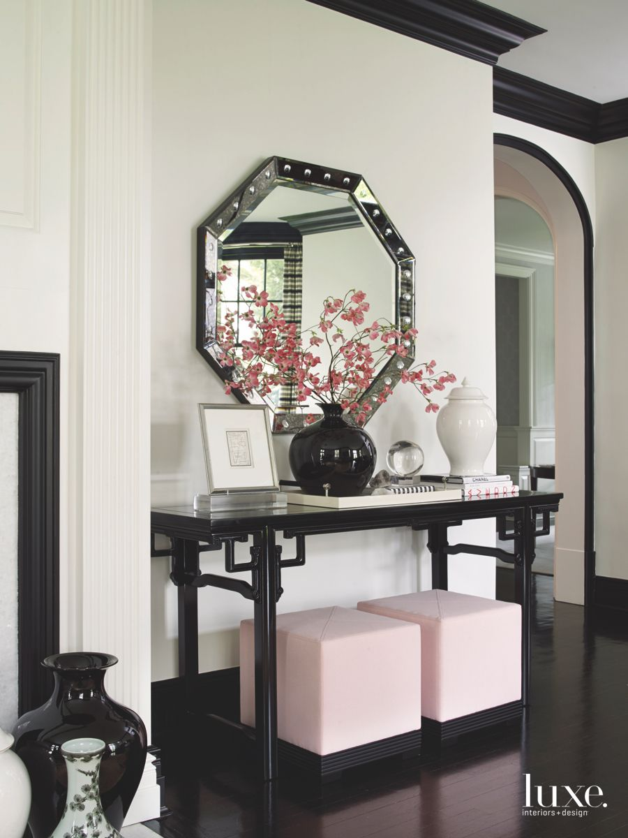 Pale Pink Nesting Ottoman Entryway with Octagonal Mirror and Flowers