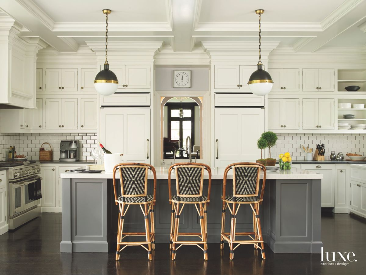 French Bistro Kitchen With Subway Tile, Seated Island and Pendant Lighting