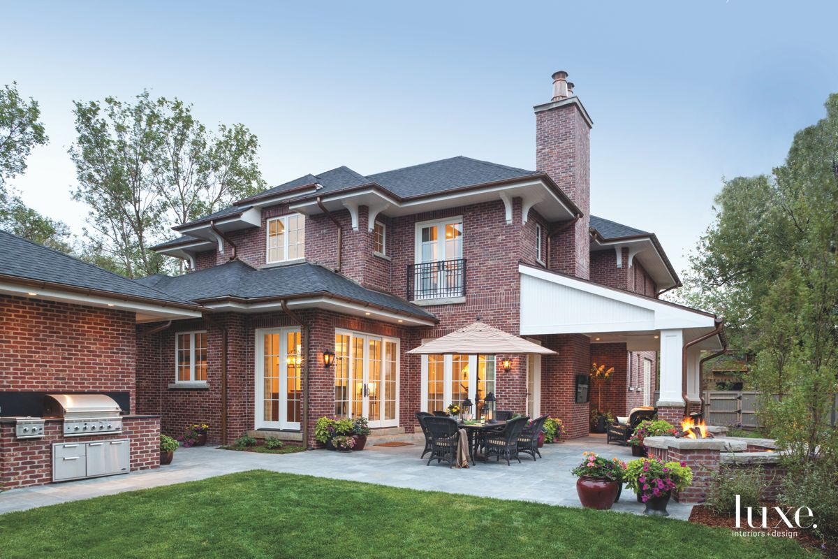 Traditional Brick Denver Patio Exterior with Barbeque Grill and Outdoor Seating