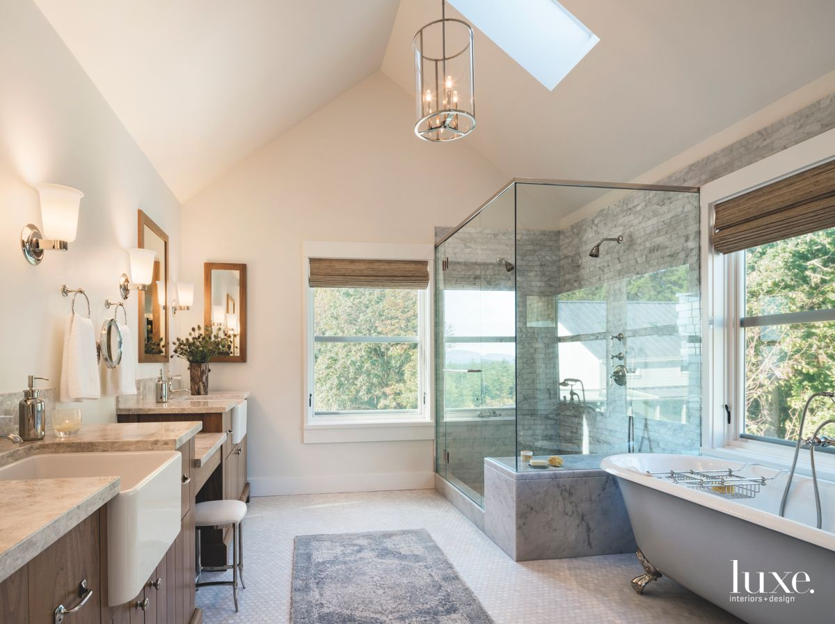 Vaulted Ceiling Master Bathroom with Large Shower Farmhouse Sink and Freestanding Tub