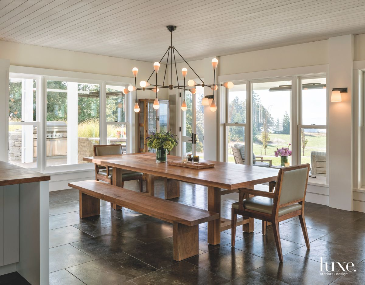 Wooden Bench Dining Table with Contemporary Chandelier Dining Room