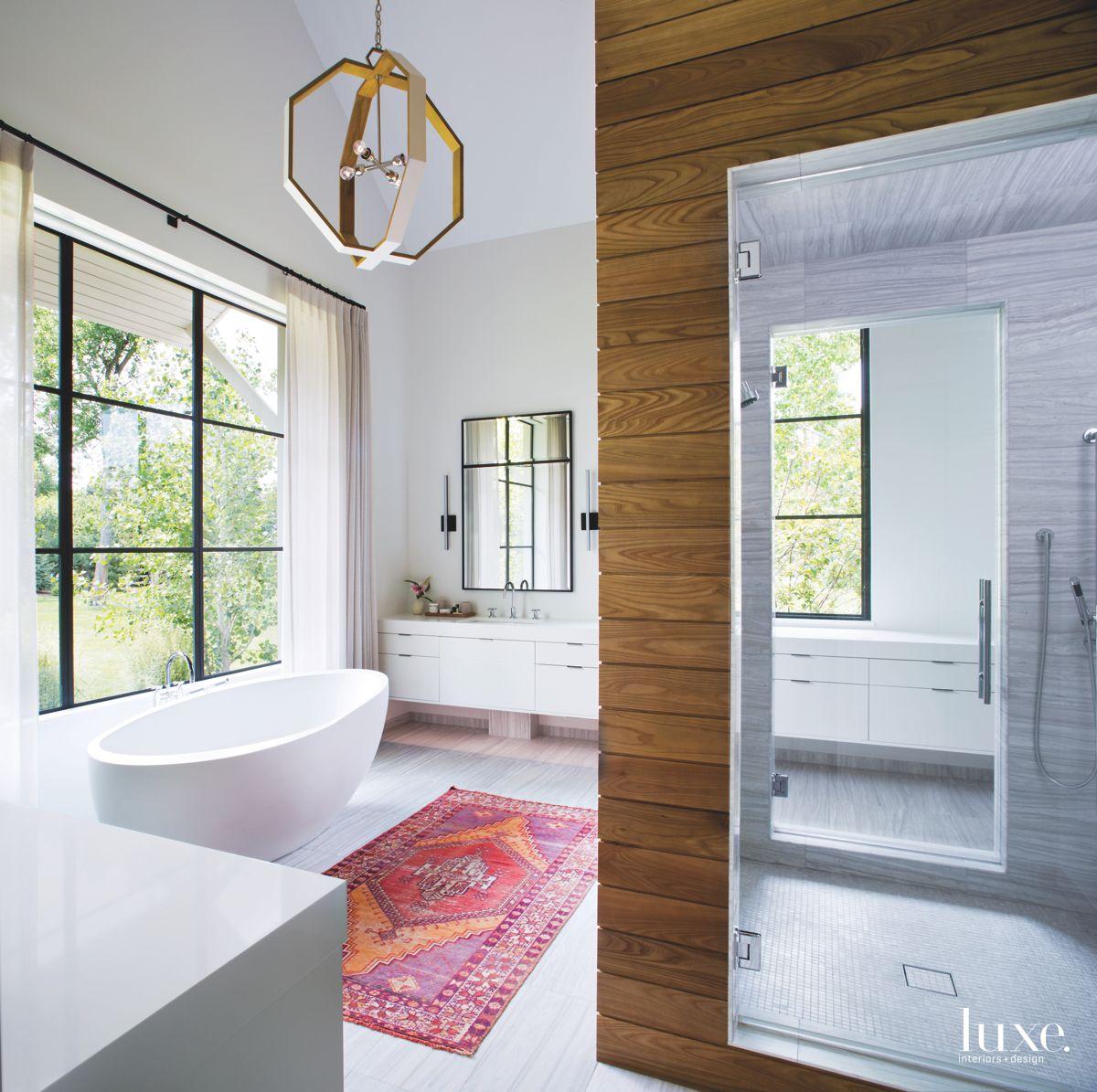 Master Bathroom with a Vibrant Rug