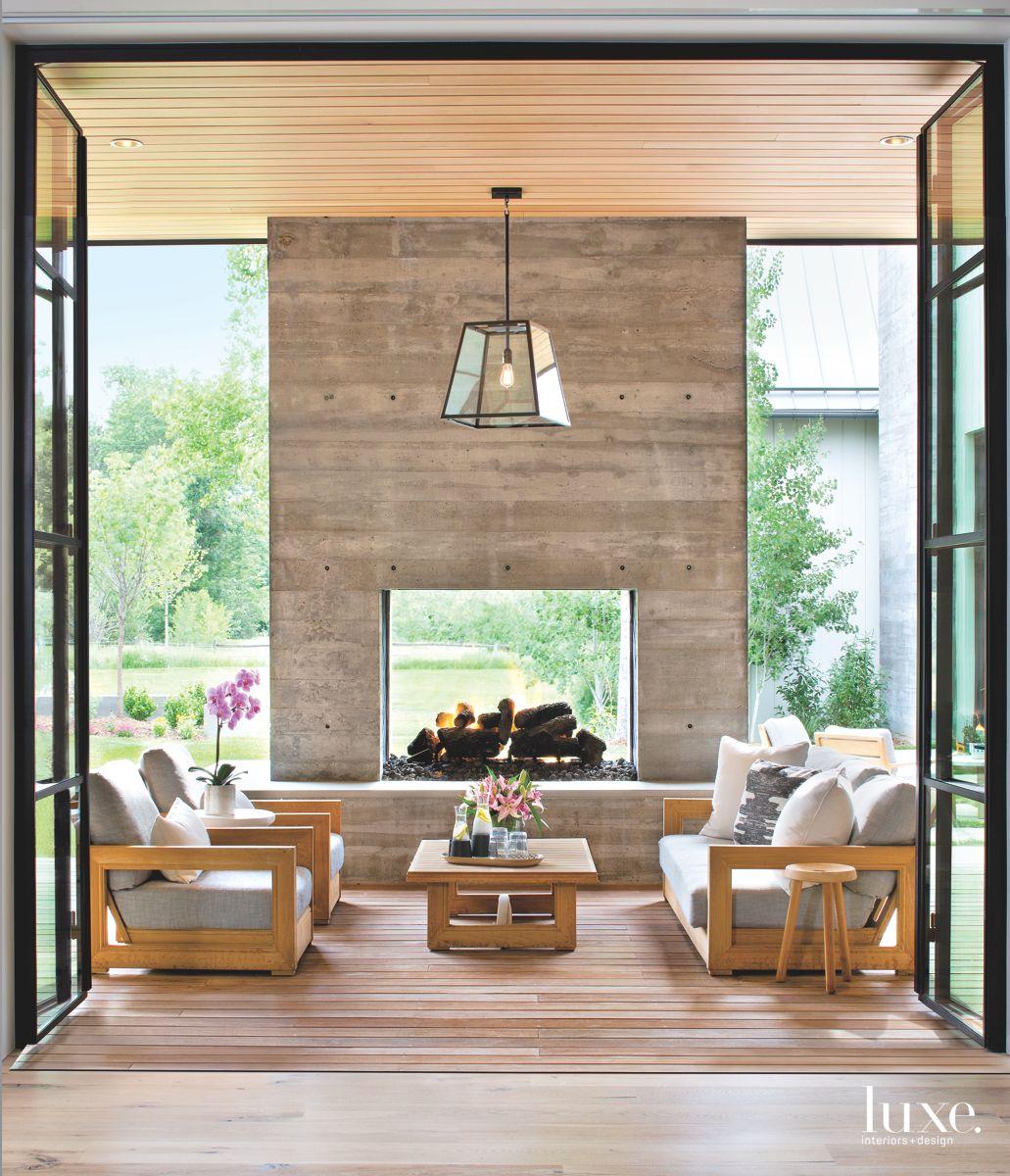 Concrete Fireplace Anchors Terrace